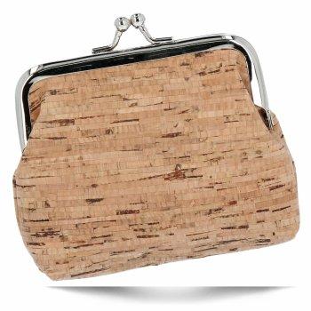 Modne Portmonetki Damskie z naturalnego korka firmy David Jones Beżowa Wood