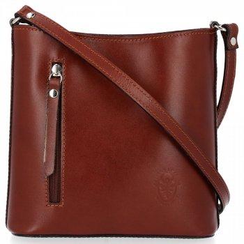 Klasyczna Torebka Listonoszka Skórzana Genuine Leather Pelle Brązowa