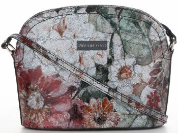 Vittoria Gotti Włoska Listonoszka Skórzana w modny wzór Kwiatów Czarna