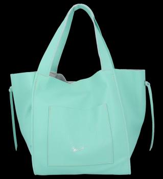 Vittoria Gotti Włoska Torebka Skórzana Shopper Bag z Kosmetyczką Mięta