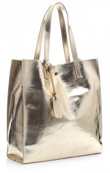 Torba Skórzana Shopper Bag z Kosmetyczką Złota