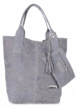 VITTORIA GOTTI Made in Italy Torebka Skórzana Shopperbag w Tłoczone Wzory Szara