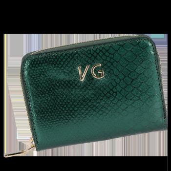 Vittoria Gotti Ekskluzywny Skórzany Portfel Damski w motyw krokodyla Made in Italy Butelkowa Zieleń