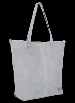 Uniwersalna Torebka Skórzana Shopper Bag firmy Vittoria Gotti Jasno Szara