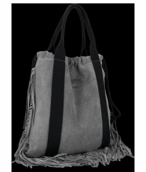 Vittoria Gotti Włoska Torebka Skórzana Shopper Bag w stylu Boho Szara