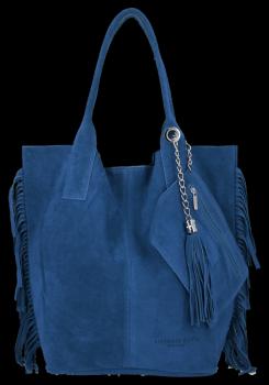 Modna Torebka Skórzana Zamszowy Shopper Bag w Stylu Boho firmy Vittoria Gotti Jeans
