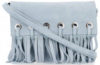 Vittoria Gotti Made in Italy Rewelacyjna Listonoszka Skórzana w stylu Boho Błękitna