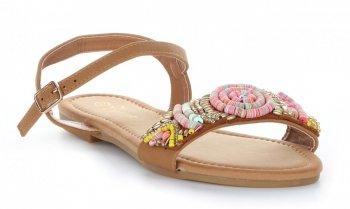 Modne Sandały Damskie ze zdobieniami Beżowe