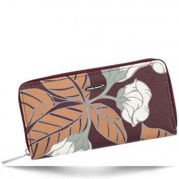 Modny Portfel Damski XL we wzór kwiatów David Jones Multikolor Bordowy