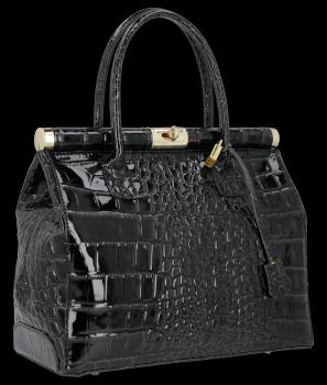 Ekskluzywny Lakierowany Kuferek Skórzany w motyw aligatora Vittoria Gotti Made in Italy Czarny