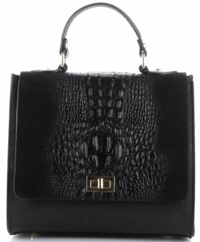 Elegancki Kuferek Skórzany Made in Italy wzór Aligatora Czarny