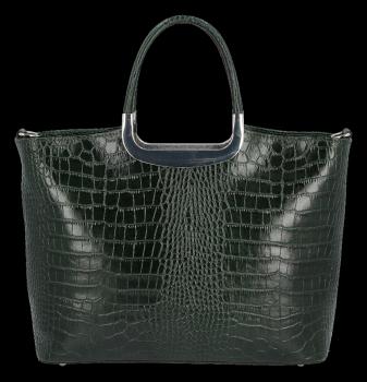 Elegancki Kuferek Skórzany w motyw aligatora Vittoria Gotti Made in Italy Butelkowa Zieleń