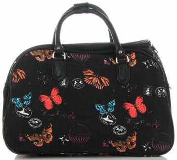 Duża Torba Podróżna Kuferek Or&Mi wzór w motyle Multikolor - Czarna