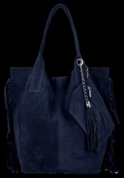 Modna Torebka Skórzana Zamszowy Shopper Bag w Stylu Boho firmy Vittoria Gotti Granat