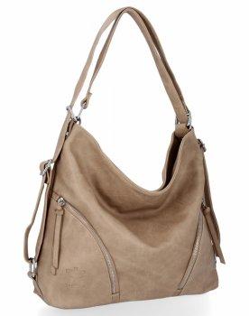 BEE BAG Uniwersalne Torebki Damskie z funkcją plecaczka Madison Ciemno Beżowa