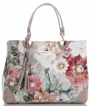 Vittoria Gotti Modna Torebka Skórzana Elegancki Kuferek Made in Italy we wzór kwiatów Multikolor Pudrowy Róż