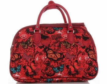 Średnia Torba Podróżna Kuferek Or&Mi wzór w motyle Multikolor - Czerwona