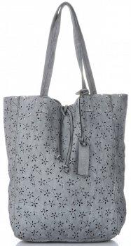 Vittoria Gotti Premium Torebka Skórzana Ażurowy ShopperBag w stylu Vintage Jasno Szara