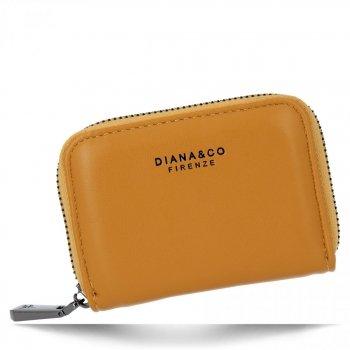 Uniwersalne Małe Portfele Damskie firmy Diana&Co Musztarda
