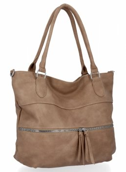Uniwersalna Torebka Damska Herisson Shopper Bag Ciemno Beżowa