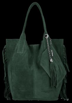 Modna Torebka Skórzana Zamszowy Shopper Bag w Stylu Boho firmy Vittoria Gotti Butelkowa Zieleń