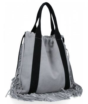 Vittoria Gotti Włoska Torebka Skórzana Shopper Bag w stylu Boho Jasno Szara