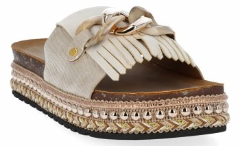 Beżowe klapki damskie na platformie firmy Lady Glory