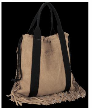 Vittoria Gotti Włoska Torebka Skórzana Shopper Bag w stylu Boho Ziemista