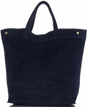 Włoski Skórzany Shopper XL firmy Vera Pelle Granatowy
