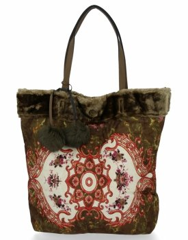 BEE BAG Torebka Damska Shopper XL Boho Style Zelona