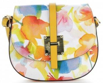 Torebka Skórzana firmy Vittoria Gotti Modna Włoska Listonoszka w malowany wzór kwiatów Multikolor Żółta