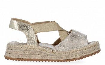 Złote sandały damskie espadryle na platformie firmy Lady Glory