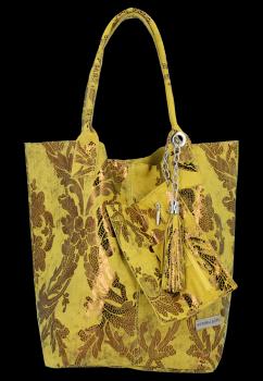 Vittoria Gotti Modne Torebki Skórzane w motyw kwiatów Shopper z Etui Żółta
