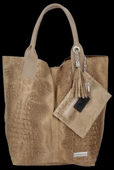 Torebki Skórzane VITTORIA GOTTI Made in Italy Shopper bag Aligator Ciemno Beżowa
