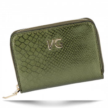 Vittoria Gotti Ekskluzywny Skórzany Portfel Damski w motyw krokodyla Made in Italy Zielony