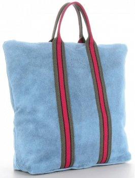 Vittoria Gotti Torebki Skórzane w modne paski Firmowy Shopper Made in Italy z funkcją Plecaczka Błękitna