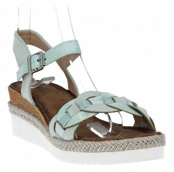 Zielone modne sandały damskie na koturnie firmy Lady Glory