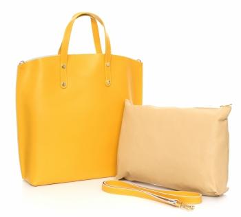 Torebka Skórzana Shopperbag z Kosmetyczką Żółta