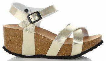 Stylowe Buty Damskie Koturny firmy Ideal Shoes Złote