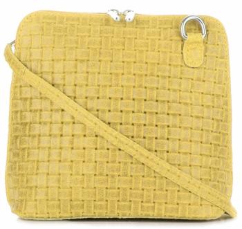Mała Włoska Torebka Skórzana Listonoszka firmy Genuine Leather Żółta