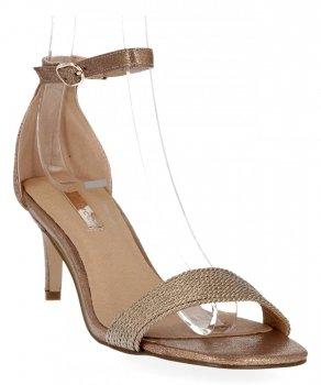 Szampańskie sandały damskie na obcasie firmy Bellucci