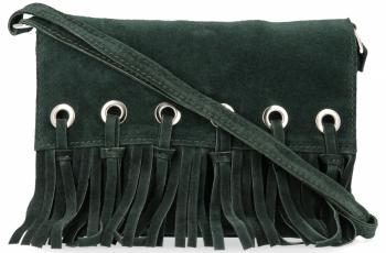 Vittoria Gotti Made in Italy Rewelacyjna Listonoszka Skórzana w stylu Boho Butelkowa Zieleń