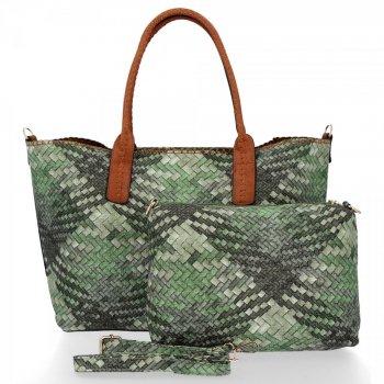 Modna Torebka Damska Venere Shopper Bag Zielona