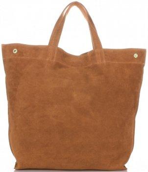 Włoski Skórzany Shopper XL firmy Vera Pelle Rudy