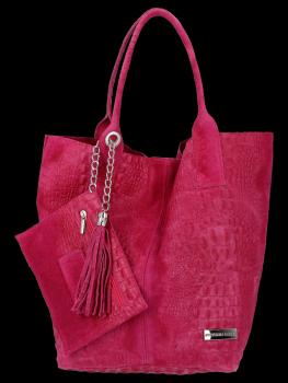 Włoskie Torebki Skórzane Shopper Bag w motyw aligatora firmy Vittoria Gotti Fuksja