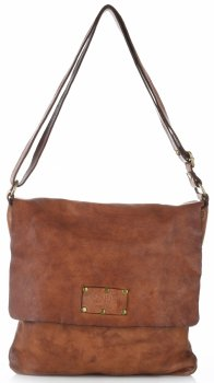 Torebka Skórzana Listonoszka Vintage Genuine Leather Brązowa