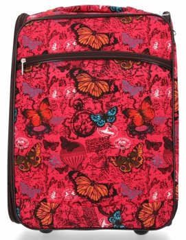Modna Walizka Kabinówka Butterfly firmy Or&Mi Czerwona