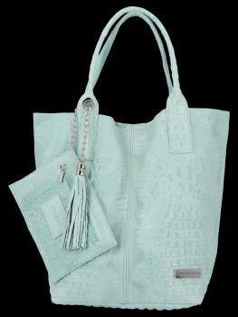 Włoskie Torebki Skórzane Shopper Bag w motyw aligatora firmy Vittoria Gotti Mięta