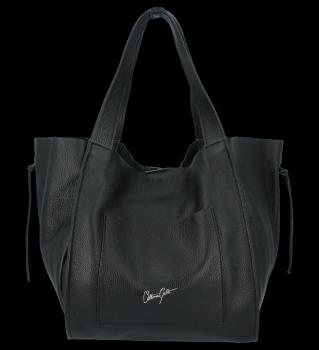 Vittoria Gotti Włoska Torebka Skórzana Shopper Bag z Kosmetyczką Czarna