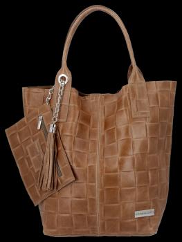 Modne Torebki Skórzane Shopper Bag XL z Etui firmy Vittoria Gotti Ziemista